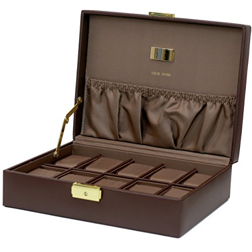 Watch Box Storage Case Leather For 10 Watches With Lined Pocket (Brown / Brown) Solid Pocket Watch