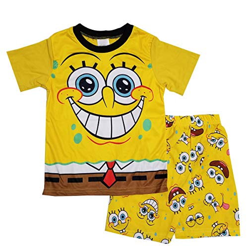 NING Little Boys 2-Piece Pajama Set King Bob Cotton Short Sleeve Pjs Sleepwear 2-7T (Spongebob Squarepants, 5T) -