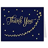 Thank You Cards, Baby Shower Thank You Cards, Twinkle Star, Navy, Gold, Stars, Star Baby Shower, Gender Neutral, Set of 50 Folding Notes with Envelopes
