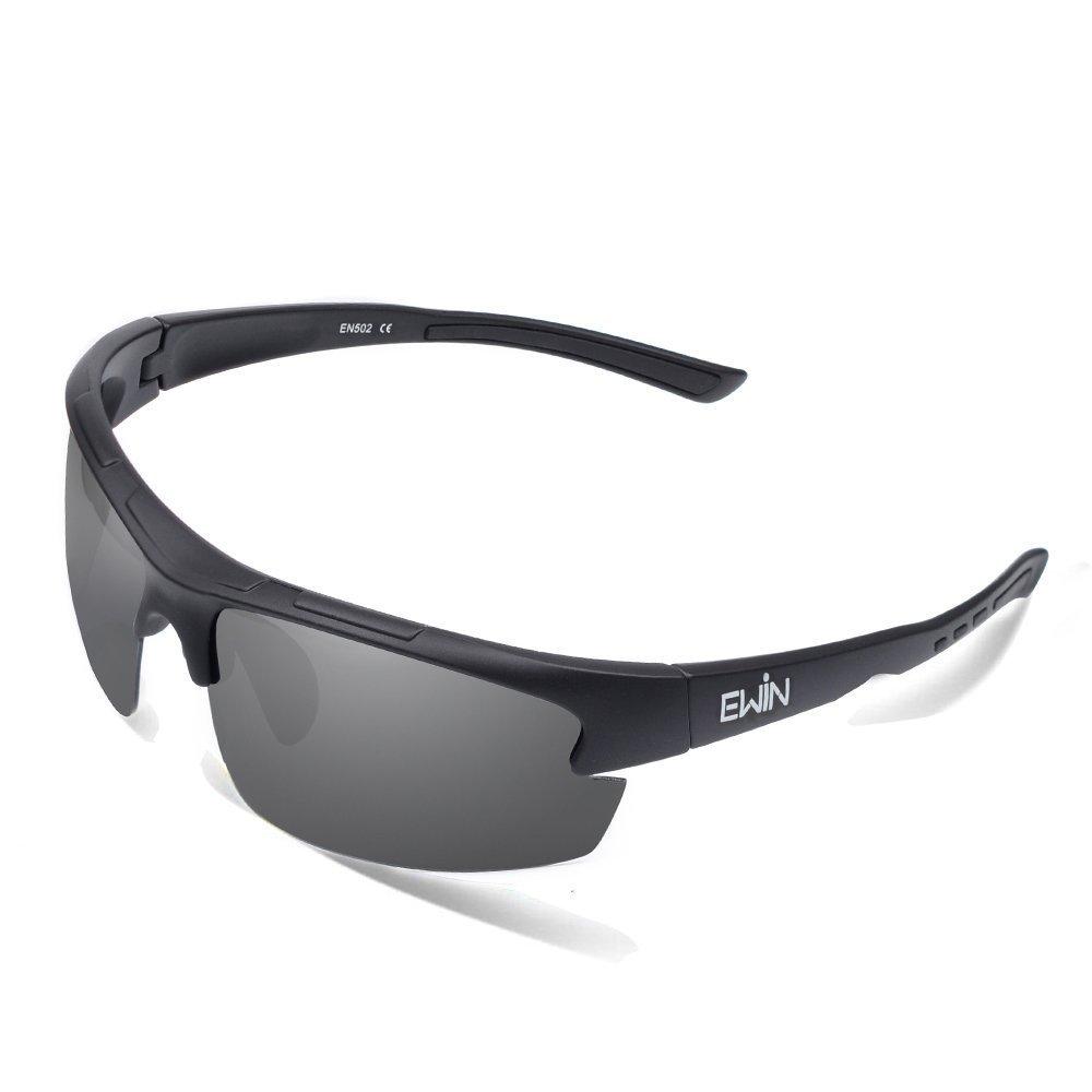 Ewin e52偏光メガネスポーツサングラスメンズレディース野球ゴルフ運転釣りサイクリングランニング  Black&Black B01J5TDBLG