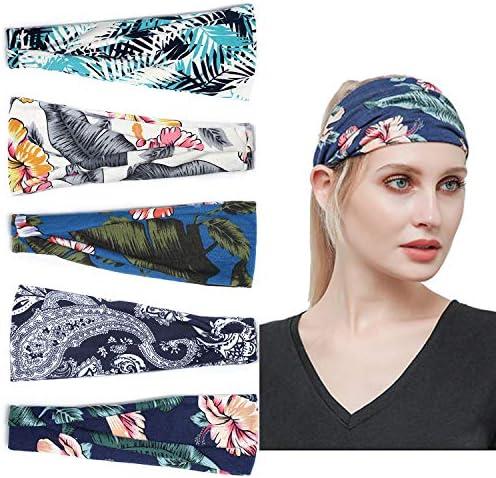 GeekerChip Women Hair Bands [5 Pieces]Vintage Elastic Cotton Hair Bands,Cute Hair Accessories for Women and Girls