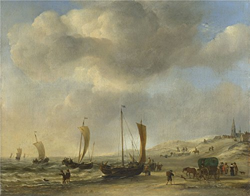 'Willem Van De Velde The Shore At Scheveningen ' Oil Painting, 24 X 31 Inch / 61 X 78 Cm ,printed On Polyster Canvas ,this High Resolution Art Decorative Prints On Canvas Is Perfectly Suitalbe For Gift For Girl Friend And Boy Friend And Home Decor And Gifts
