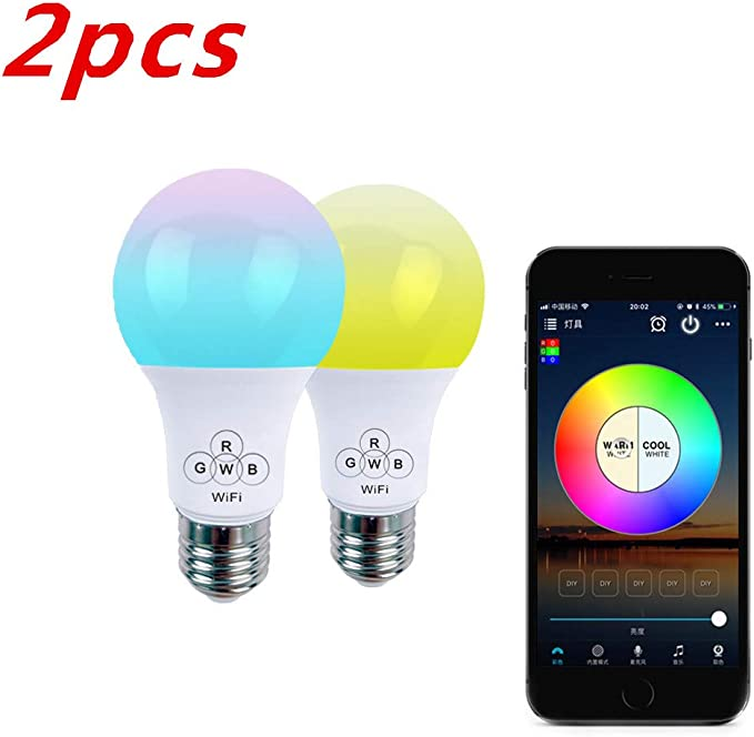 7W GreenDot Smart WiFi Multi-Colored Adjustable Dimmable LED Light Bulb Compatible with Alexa /& Google Assistant 2Pack 50W Equivalent E26 No Hub Required