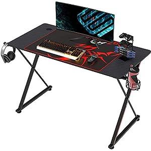 EUREKA ERGONOMIC Bureau Gaming en Forme de X Bureau Gamer Bureau d'ordinateur 100 * 60cm Noir (120_x_60_cm)