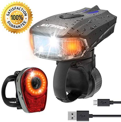 SAMLITE Best USB Rechargeable LED Bike Light Set Trip-LIT Super Bright 400 Lumens Headlight – LED Front Light with Free LED Tail Light Set, Two USB Charging Cables Included for Safety Cycling