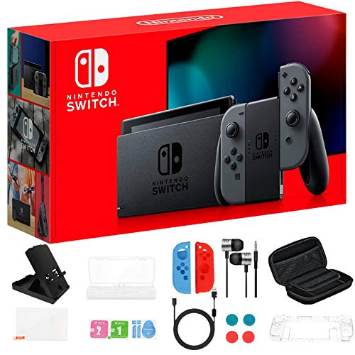 """Newest Nintendo Switch 32GB Console with Gray Joy-Con, 6.2"""" Touchscreen 1280x720 LCD Display, 802.11AC WiFi, Bluetooth 4.1, HDMI, Bundled with TSBEAU 19 in 1 Carrying Case Accessories"""
