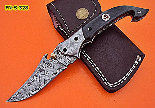 FN-S-328, Handmade Damascus Steel Folding Knife Colored Bone Handle with Damascus Steel Bolsters