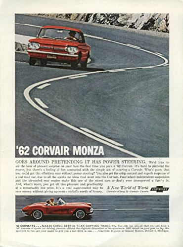 - Corvair goes around pretending it has power steering Corvette ad 1962 NY