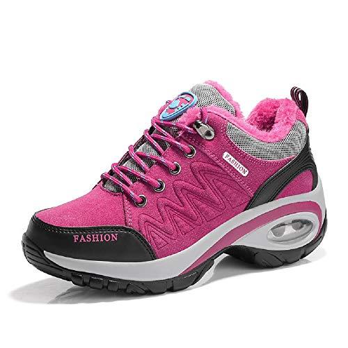 EU con Rojo Zapatos de Caminata Color tamaño Piel Mujer Rojo Suela Forro Qiusa 36 con de q5awZOO
