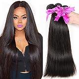 BODHI TREE Brazilian Virgin Hair Straight 3 Bundles 7A Unprocessed Brazilian Hair Weave Bundles Natural Black Color (24 24 24)