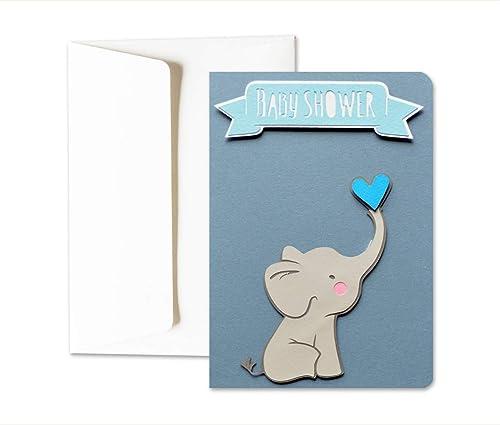 Niño babyshower - bebé elefante - lazo azul - niño - tarjeta ...