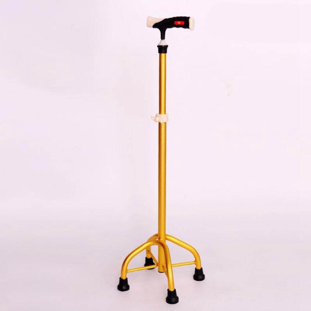 JINGLI WANGJINLI Medical Crutches Adjustable Stainless Steel Non-Slip Rehabilitation Aids Four-Foot Crutches, Gold