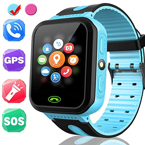 Kids Smart Watch - Smart Phone Watch for 3-12 Year Old Boys Girls with GPS Locator 1.5'' HD Touch Screen Fitness Tracker SOS Camera Game Flashlight Anti Lost Alarm Clock -