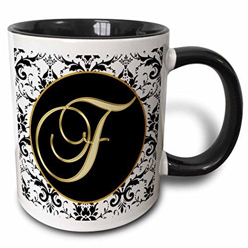 3dRose 256271_4 Image Of The Script Letter F In Black White And Gold Mug, 11 oz (Mug F Letter)
