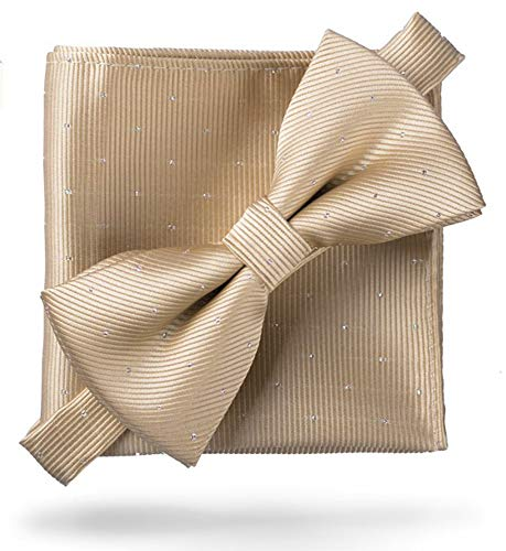 Flairs New York Gentleman Essentials Bow Tie and Pocket Square Matching Set (Regular Bow Tie & Pocket Square Set, Champagne Gold [Glitter Dot Print])
