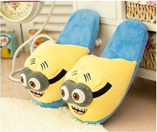 Despicable Me 2 Minion Soft Shoes Plush Toy Slippers Cartoon Plush Slippers Two-eye