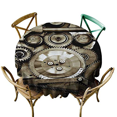 (one1love Spill-Proof Table Cover Industrial Decor Pieces of Old Mechanism Close Up Gears View Grunge Antique Cogs Technical Image for Banquet Decoration Dining Table Cover 60 INCH Sepia)