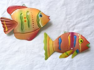 Set of 2 Colorful Coral Colored Tropical Fish Ornaments - Fish Outta Water - Christmas Ornament or Hanging Ornament - Beach Ocean