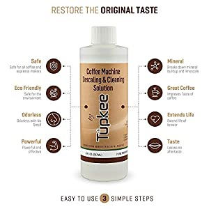 Tupkee Coffee Machine Descaler – Universal, For Drip Coffee Maker and Keurig Coffee Machines Descaling & Cleaning Solution, Breaks Down Mineral Buildup and Limescale