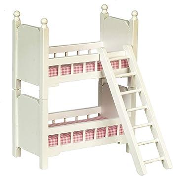 Amazon.es: Casa de Muñecas Pequeño Blanco Madera Camas Litera Muebles Dormitorio Miniatura Literas: Juguetes y juegos