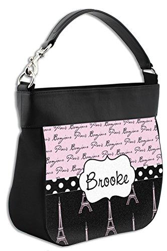 Personalized Front Trim Leather Purse Bonjour Eiffel Paris Tower w and Genuine Hobo v4PzC8qw