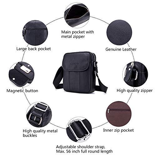 Herren Negro Bandolera Black Leder Schultertasche für Brown Männer Umhängetasche Echtes Kleine CMXSEVENDAY Bolso Marrón 22 cm 6q5azwH4n