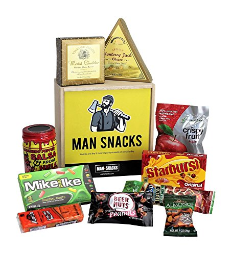 MAN SNACKS - Manly Snacks Packed In A Manly Wooden Box. It's A Gift Basket for Real Men. Makes A Great Birthday Gift, College Care Package Or Thank You Gift. (Beer Packages For Gifts)