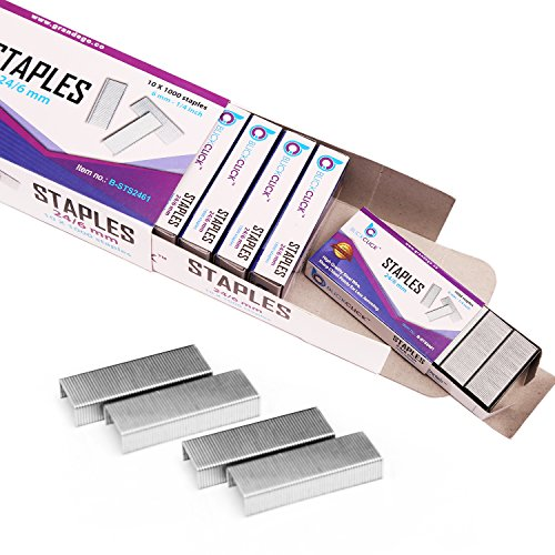 "BLICKCLICK Premium Standard Office Staples | Bulk Pack of 10,000 - Silver Sharp Chisel Points & Strong Steel Wire Strips – ¼"" Size Fits Most Staplers – Great for Classroom and Household Use"