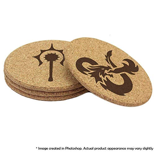 (Dungeons and Dragons Cork Coaster Set of 4, 6, or 8, 10 or 12 Double Sided D&D Coasters)