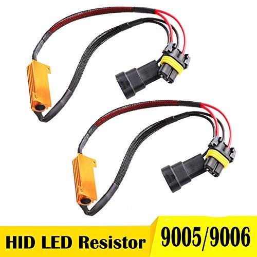 LED Load Resistor Kit 9005 9006 HB3 HB4 Anti-flicker Flashing Blinking Canceller Error Free 50W 6ohm Adapter Wiring Harness (Pair)