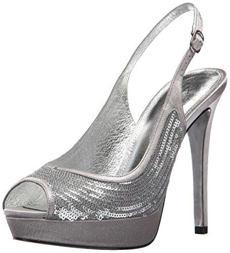 Adrianna Papell Womens Rio Platform Silver Mini Sequins