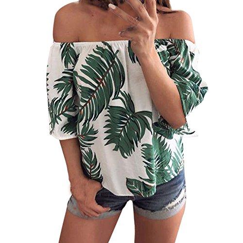 Sunnyuk Camiseta de Verano para Mujer Hombro sin Tirantes ...