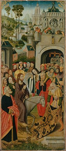 The High Quality Polyster Canvas Of Oil Painting 'The Entry Into Jerusalem,second Half Of The 15 Century By Master Of The Thuison Altarpiece' ,size: 10x23 Inch / 25x58 Cm ,this Beautiful Art Decorative Prints On Canvas Is Fit For Gift For Bf And Gf And Home Decoration And Gifts Entry Chandelier Art