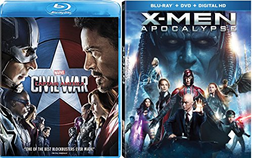 Captain America Civil War & X-Men Apocalypse Blu Ray Marvel Hero Set