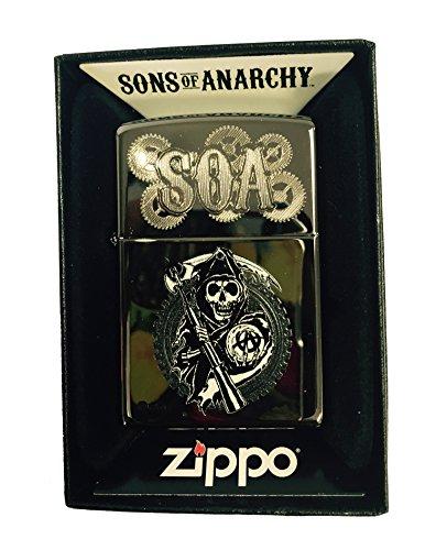 Zippo Custom Lighter   Samcro Sons Of Anarchy Reaper Dual Engraving   Regular Black Ice