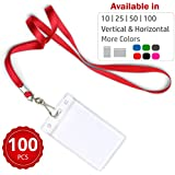 Durably Woven Lanyards & Vertical ID Badge Holders ~Premium Quality, Waterproof & Dustproof ~ for Moms, Teachers, Tours, Events, Businesses, Cruises & More (100 Pack, Red) by Stationery King