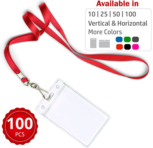 Durably Woven Lanyards & Vertical ID Badge Holders ~Premium Quality, Waterproof & Dustproof ~ for Moms, Teachers, Tours, Events, Businesses, Cruises & More (100 Pack, Red) by Stationery -