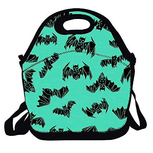 Tote Box Container Insulated Zip Out Removable School Carry Handle Tote Lunch bag - Halloween Bats Print -