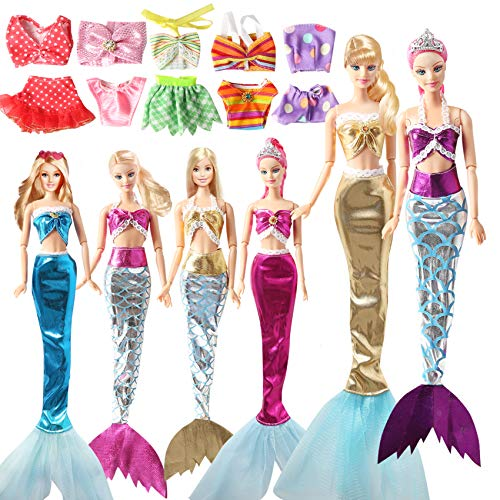 11 Sets Mermaid Tail Dresses and Bikini Clothes Set Fit 11.5 Inch 12 Inch Doll Princess Rainbow Mermaid with Tail Summer Beach Swimwear Swimsuit for Little Girl's Toy Dolls