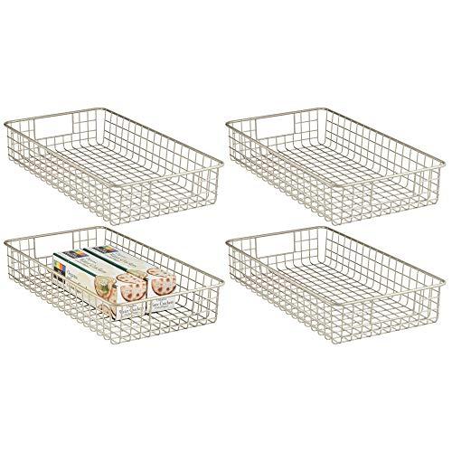 mDesign Household Metal Wire Cabinet Organizer Storage Organizer Bins Baskets trays - for Kitchen Pantry Pantry Fridge, Closets, Garage Laundry Bathroom - 16 x 9 x 3 - 4 Pack - Satin