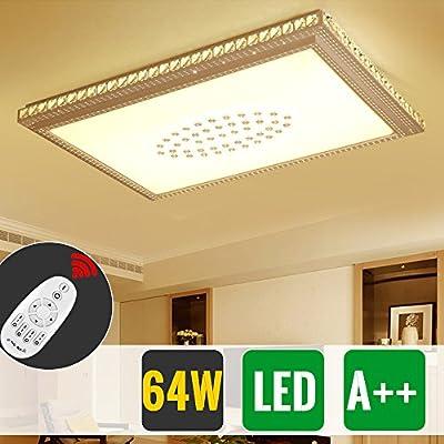 HG® Diseño Notable LED Lámpara de techo redondo cristal deckenleuchte Salón Star Light de efecto (Cuadrada 64W Regulable)