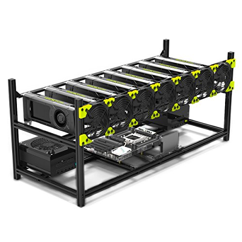 8 GPU Mining rig Aluminum Stackable Mining Case Rig Open Air Frame For Ethereum(ETH)/ETC/ ZCash/Monero/BTC Excellent air convection design Aluminum Stackable