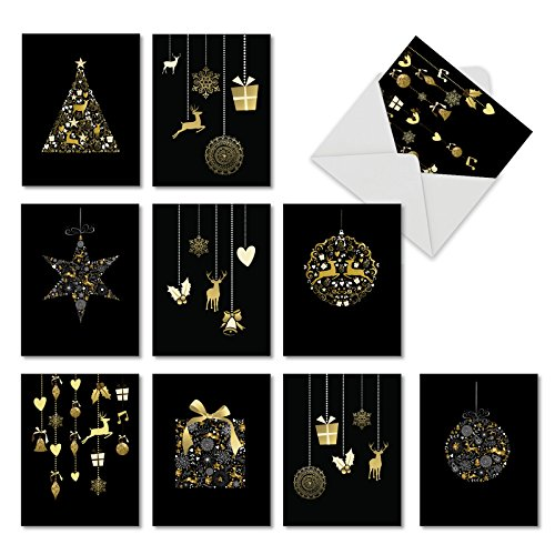 (Golden Holidays: 20 Assorted Blank Christmas Greeting Cards Depicting Golden Hanging Ornaments and Silver Swirls, with Envelopes. AM6723XSB-B2x10)