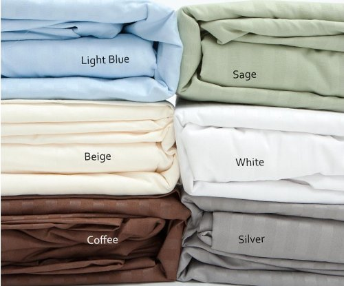 Full Size Light Blue 400 Thread Count 100% Cotton Sateen Dobby Stripe Sheet Set