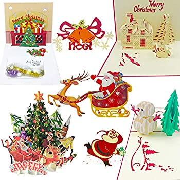 7 pack 3d pop up christmas cards greeting handmade holiday xmas cards envelopes for xmasnew year