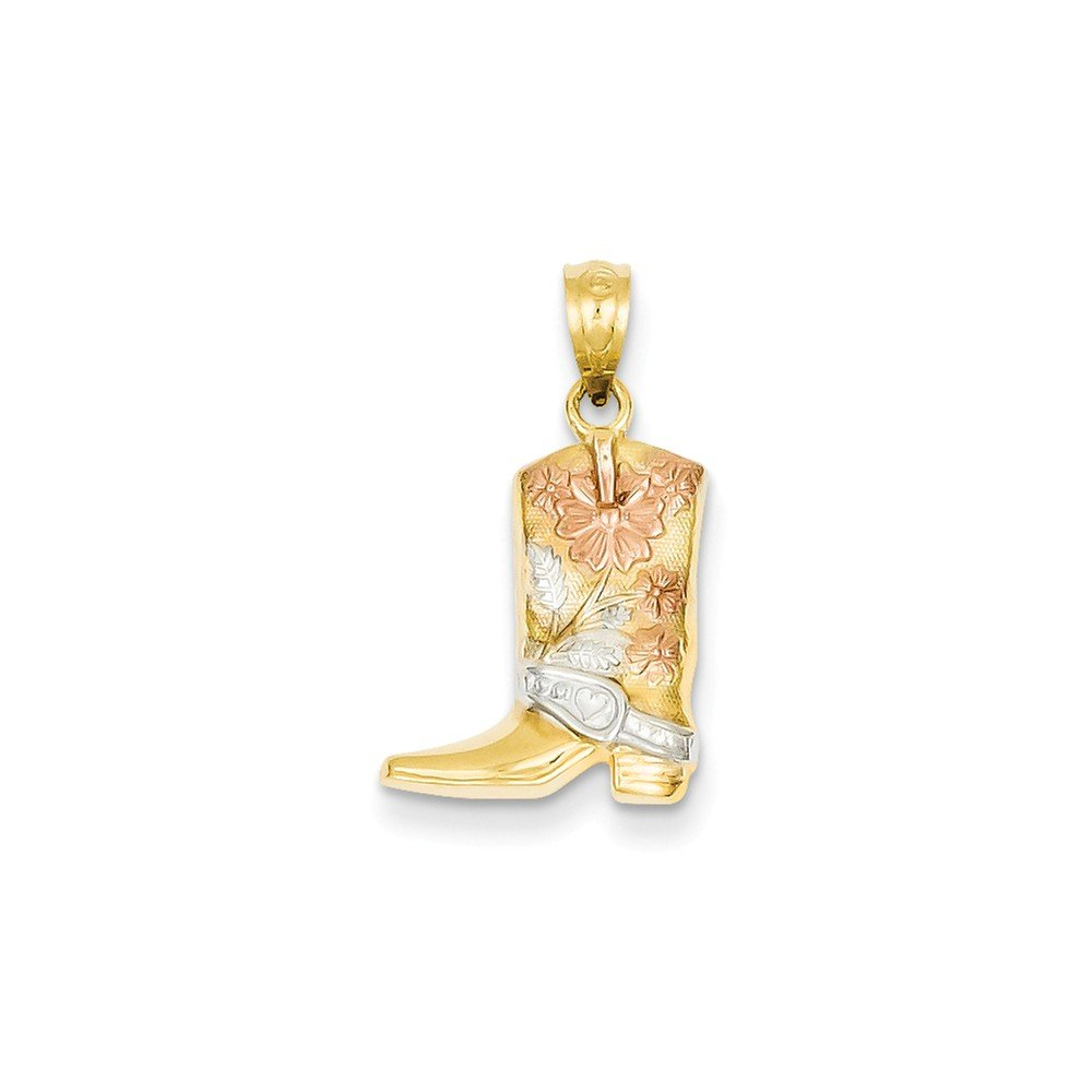 14k Yellow & Rhodium Floral Boot Pendant