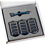 Personna Men's 5 Blade Razor with Bulk Pack of 12 Replacement Razor Cartridges and Shaving Razor Handle (Blue)