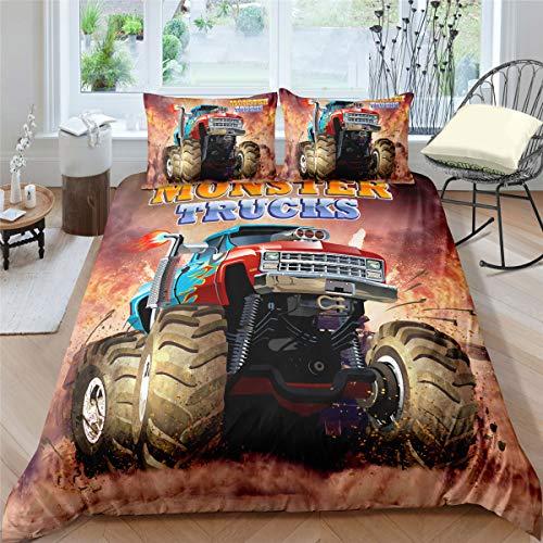 Helehome Monster Truck Duvet Cover Set Queen Size, Boys Hobby Sports Bedding Set with Flame Exotic Automobile Style Image Decorative 3 Piece Bedding Set with 2 Pillow Shams