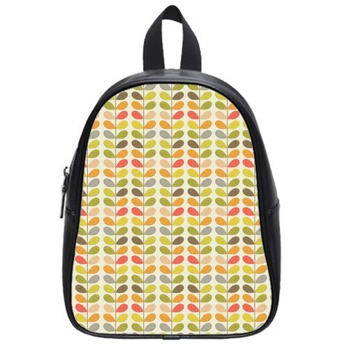Retro Orla Kiely Leaves Custom Casual Backpack Students School Bag Laptop Bag Hiking Bag Outdoor Sports Backpacks (Large)