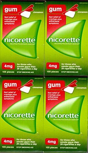 Nicorette Nicotine Gum: CINNAMON 4 MG (4 packs of 105, 420 Pieces) (Stop Smoking Aid) by Nicorette
